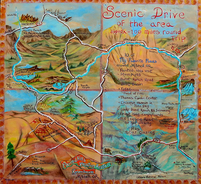scenic drive of painted hills